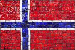 Bandeira do mosaico de Noruega imagens de stock royalty free