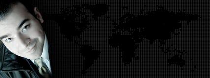 Bandeira do mundo do homem de negócio Imagem de Stock