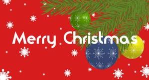 Bandeira do Natal com bolas e ramos do Natal Fotografia de Stock