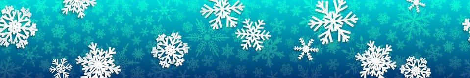 Bandeira do Natal com flocos de neve brancos Foto de Stock