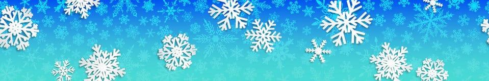 Bandeira do Natal com flocos de neve brancos Imagens de Stock Royalty Free