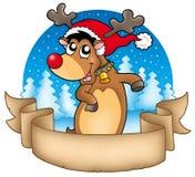 Bandeira do Natal com rena bonito Fotos de Stock