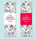 Bandeira do Natal Plantas tiradas mão do Xmas da ilustração do vetor e Imagens de Stock