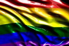 A bandeira do orgulho alegre do arco-íris, tridimensional rende, textura do cetim Imagem de Stock