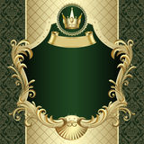 Bandeira do ouro do vintage com uma coroa na obscuridade - backgroun barroco verde Fotografia de Stock Royalty Free