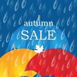 Bandeira do outono com pingos de chuva e guarda-chuvas Fotografia de Stock Royalty Free