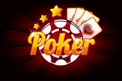 Bandeira do pôquer com os cartões e a microplaqueta de jogo do ícone Casino dos símbolos do vetor Ilustração para o casino, os en ilustração do vetor