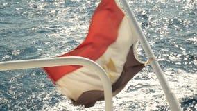 Bandeira do país de Egito de um iate no mar com ondas vídeos de arquivo