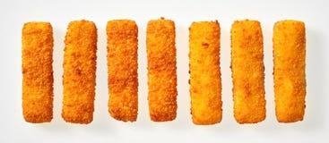 Bandeira do panorama de varas douradas esmigalhadas dos dedos de peixes imagem de stock