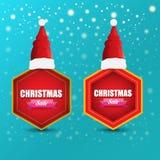 Bandeira do papel das vendas do Natal do vetor ou etiqueta da etiqueta com o chapéu vermelho de Santa no fundo nevado dos azuis c ilustração stock