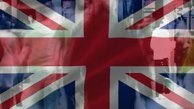 Bandeira do passeio BRITÂNICO e dos povos video estoque