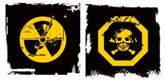 Bandeira do perigo do grunge da cor Foto de Stock