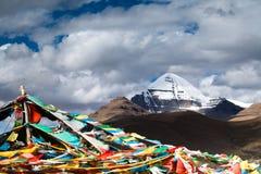 Bandeira do pico & da oração de Gangren Boqi Fotografia de Stock