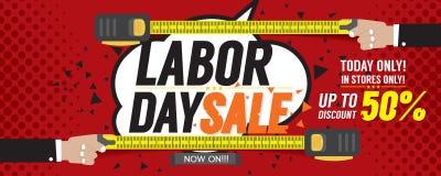 Bandeira do pixel dos por cento 6250x2500 da venda 50 do Dia do Trabalhador Fotografia de Stock