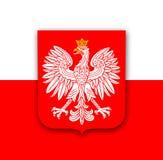 Bandeira do Polônia com águia Fotos de Stock