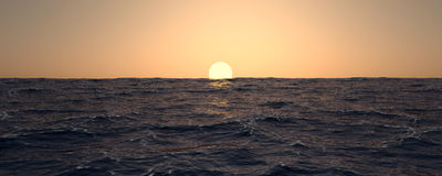 Bandeira do por do sol do oceano Fotos de Stock