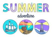 Bandeira do Promo da aventura do verão com Seascapes redondos ilustração stock