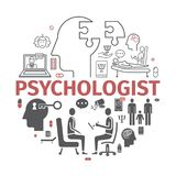 Bandeira do psicólogo, infographics conceptual Aconselhando a psicologia Sinal do vetor para gráficos da Web ilustração stock