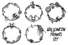 A bandeira do quadro de Dia das Bruxas ajustou-se para a caligrafia com Dia das Bruxas assustador ilustração do vetor