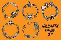 A bandeira do quadro de Dia das Bruxas ajustou-se para a caligrafia com Dia das Bruxas assustador ilustração stock