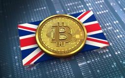 bandeira do Reino Unido do bitcoin 3d Imagens de Stock