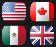 Bandeira do Reino Unido EUA México Canadá ilustração do vetor