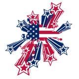 Bandeira do respingo dos EUA com estrelas Imagens de Stock