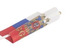 Bandeira do russo com o emblema de Rússia imagem de stock