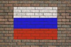Bandeira do russo na parede Fotografia de Stock
