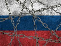 Bandeira do russo pintada na parede Fotos de Stock