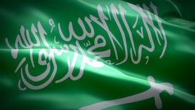 Bandeira do saudita que acena nas imagens de vídeo HD completo do vento Fundo realístico da bandeira do saudita Close up dando
