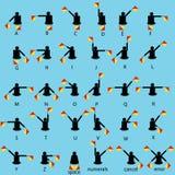 A bandeira do semáforo sinaliza o vetor do alfabeto Fotos de Stock Royalty Free