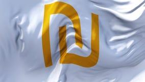 318 Bandeira do shekel de Israel que acena no fundo sem emenda contínuo do laço do vento