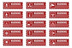 Bandeira do sinal de aviso com texto do perigo ilustração stock