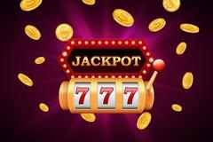 Bandeira do slot machine e do jackpot com as moedas douradas de queda Fotografia de Stock