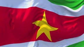 Bandeira do Suriname que acena no fundo sem emenda contínuo do laço do vento ilustração do vetor