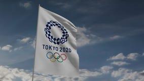 Bandeira 2020 do Tóquio na animação do vento 3d video estoque