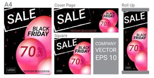 Bandeira do texto da venda de Black Friday e grupo cor-de-rosa do vetor do projeto dos balões Fotografia de Stock