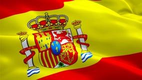 Bandeira do vídeo da bandeira da Espanha que acena no vento Fundo espanhol realístico da bandeira Foo completo dando laços do
