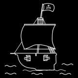 Bandeira do veleiro do navio de pirata com um crânio e ossos cruzados Imagens de Stock
