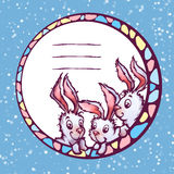 Bandeira do vetor com coelhos bonitos dos desenhos animados Fotografia de Stock