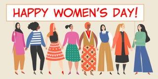 Bandeira do vetor com um grupo de mulheres que guardam um cartaz grande com felicitações ao dia das mulheres internacionais ilustração stock