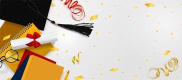 Bandeira do vetor da gradua??o O fundo Congrats gradua-se com os objetos vistos de cima do chap?u com o papel do grau, livros ilustração do vetor