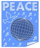 Bandeira do vetor da paz com a pomba que voa sobre os símbolos do globo e de música Desenho branco no fundo azul Fotos de Stock Royalty Free
