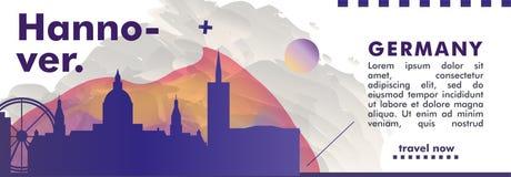 Bandeira do vetor do inclinação da cidade da skyline de Alemanha Hannover Imagens de Stock Royalty Free