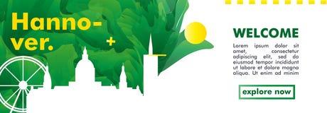 Bandeira do vetor do inclinação da cidade da skyline de Alemanha Hannover Imagem de Stock