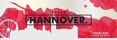 Bandeira do vetor do inclinação da cidade da skyline de Alemanha Hannover Fotos de Stock