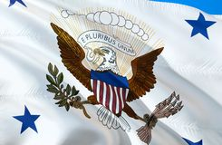 Bandeira do vice-presidente projeto de ondulação da bandeira 3D O símbolo nacional dos EUA, rendição 3D Cores do vice-presidente  imagens de stock