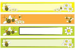 Bandeira do Web ajustada - abelha e margaridas para crianças Foto de Stock