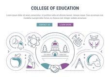 Bandeira do Web site e faculdade da página da aterrissagem da educação ilustração stock